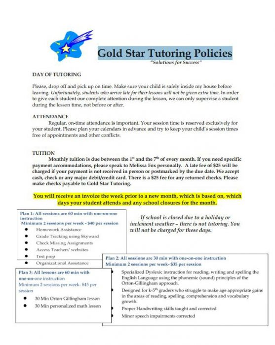 Gold Star Tutoring Policies